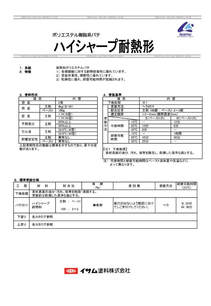 イサム塗料 ハイシャープ 耐熱形 ポリエステルパテ S 夏型 4.1kg 4セット 【送料無料】の画像