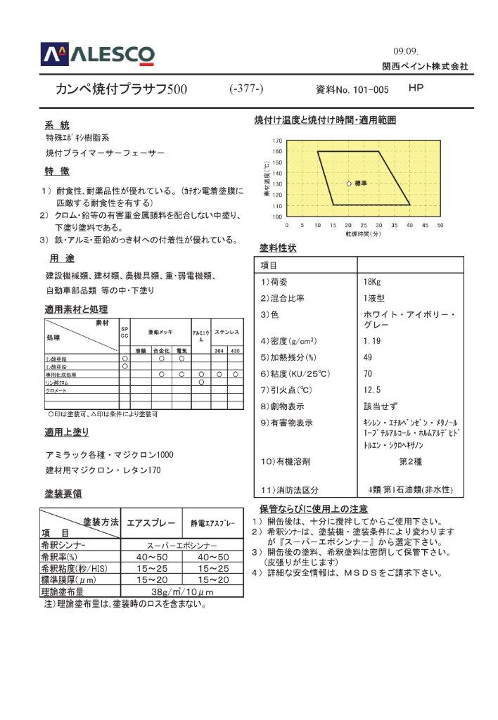 関西ペイント カンペ焼付プラサフ500 18kg 【送料無料】の画像