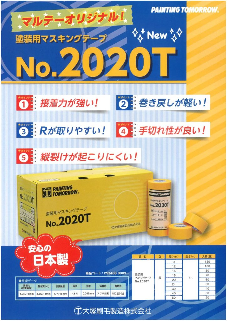 No.2020T 塗装用マスキングテープ 黄 20mm 60巻入り 2箱 セット 【送料無料】の画像