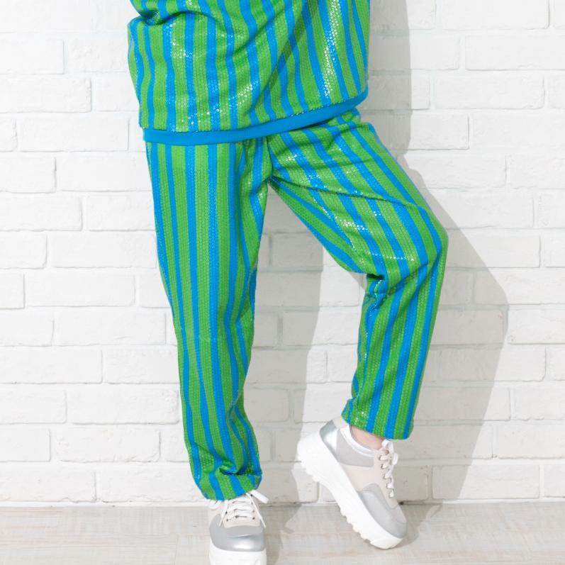 ユニセックススーツパンツ cullotte-rayas-azul-verde-lentejuelas画像