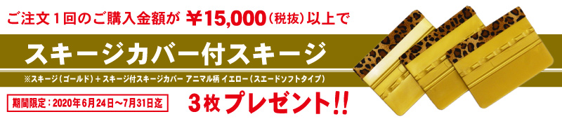 15,000円(税抜)以上ご購入でスキージカバー付スキージ3枚プレゼントキャンペーン