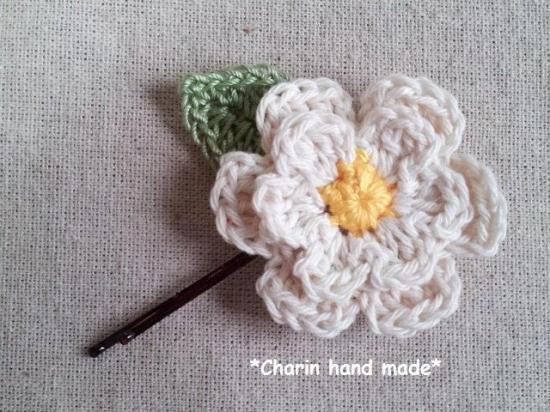 【受注制作】お花のコットンモチーフのヘアーピンの画像