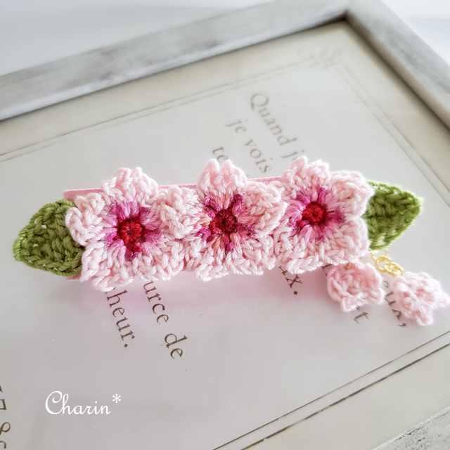 桜のバレッタ ハンドメイド さくら 春 ヘアーアクセサリー画像