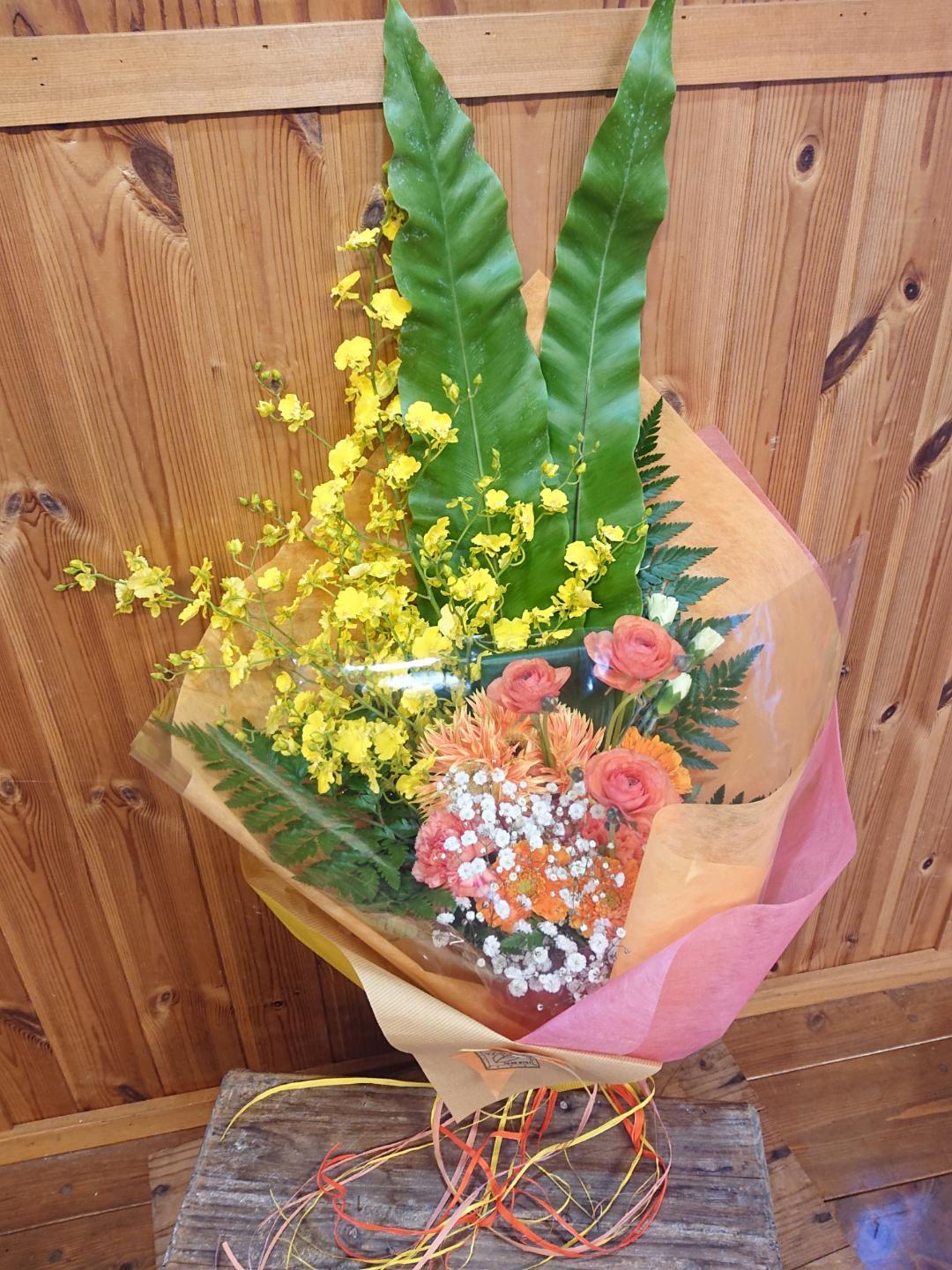 お祝い花束[ロングタイプ]黄色・オレンジ系画像