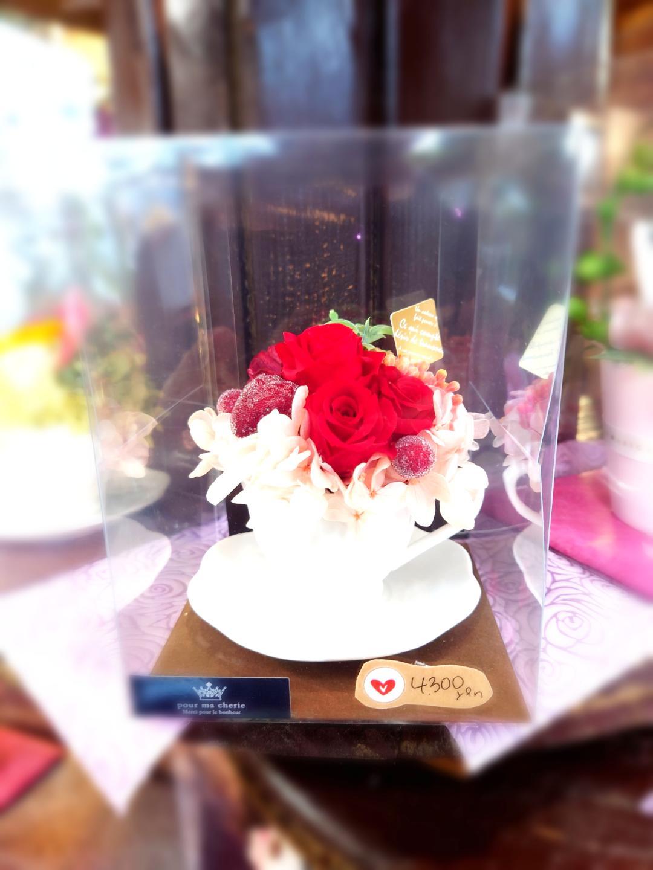プリザーブドフラワー・ティーカップ[RED系]画像