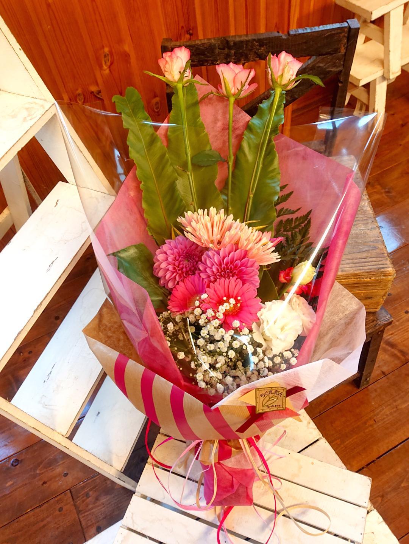 お祝い花束[ロングタイプ]ピンク系画像