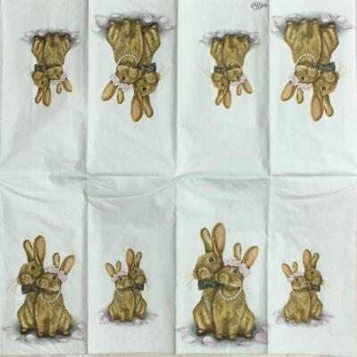 ウサギの恋人たち(21㎝ミニナプキン)の画像