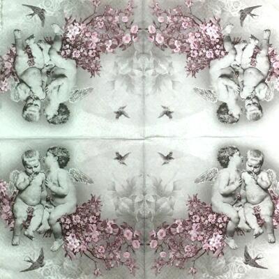 桜に座る天使の画像