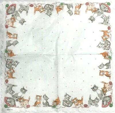毛糸玉で遊ぶ猫たち(一重ナプキン)画像