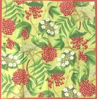 赤い実と白い花(21cmミニナプキン)の画像