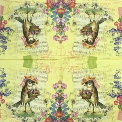 花束を持つ小鳥の画像