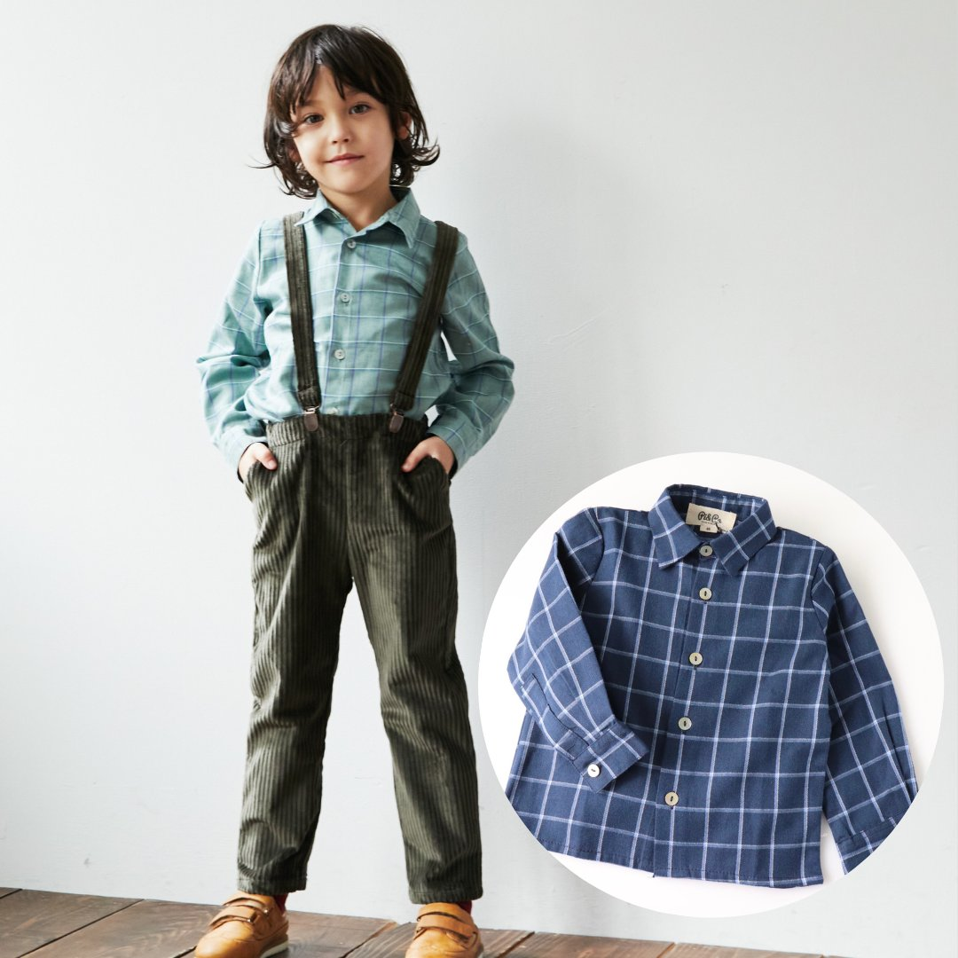pi&pa★ボーイズチェックシャツ(全2色)(2A~8A)画像
