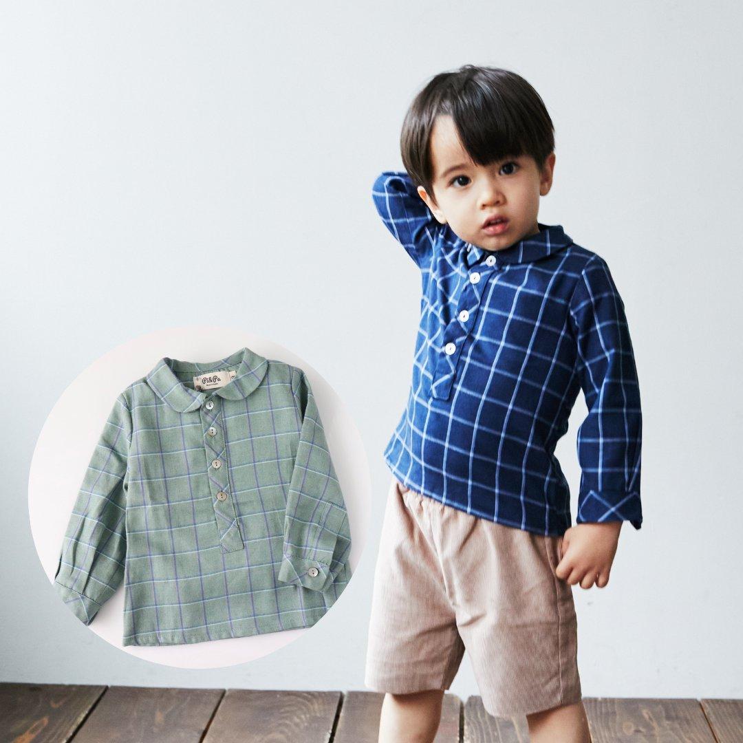 pi&pa★ピーターパンカラーチェックシャツ(全2色)(12m~3A)画像