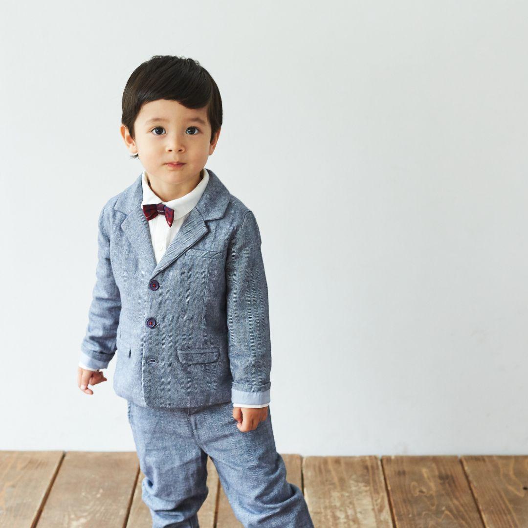 ▼30%-Albetta★ネイビーヘリンボーンジャケット画像