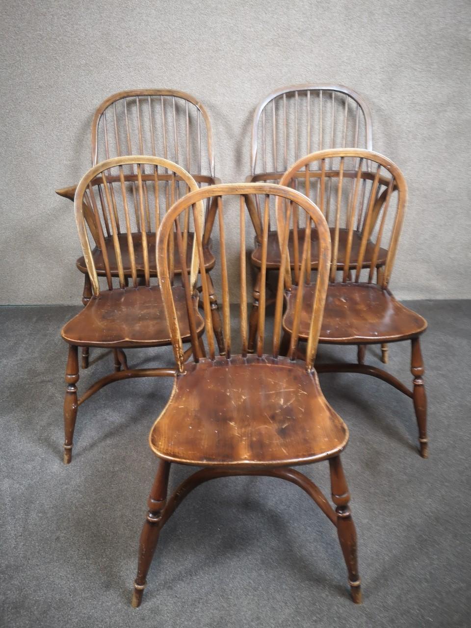 5 oak Windsor chairs(armless)画像