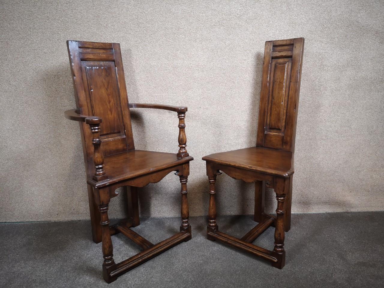 Oak arm chair and single chair(arm)画像