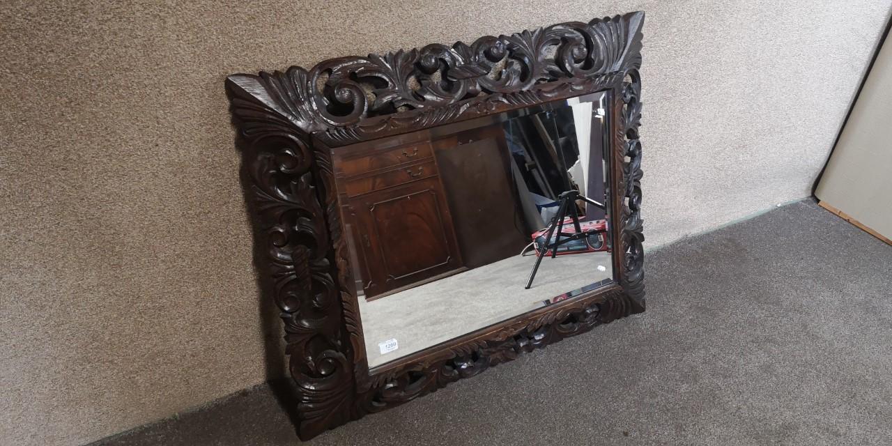 Victorian carved mirror画像