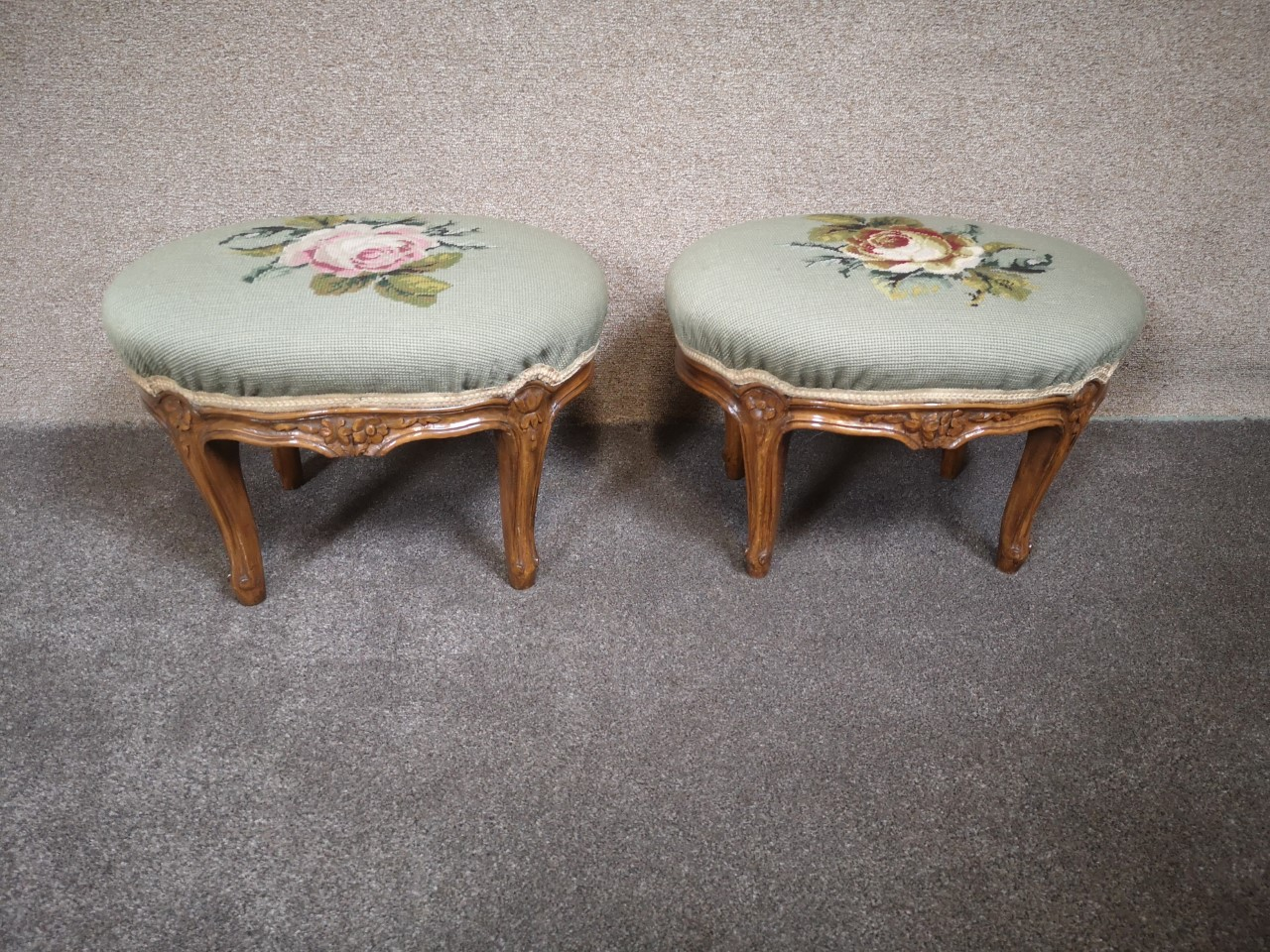 Pair of French Walnut Louis XV style foot stools画像