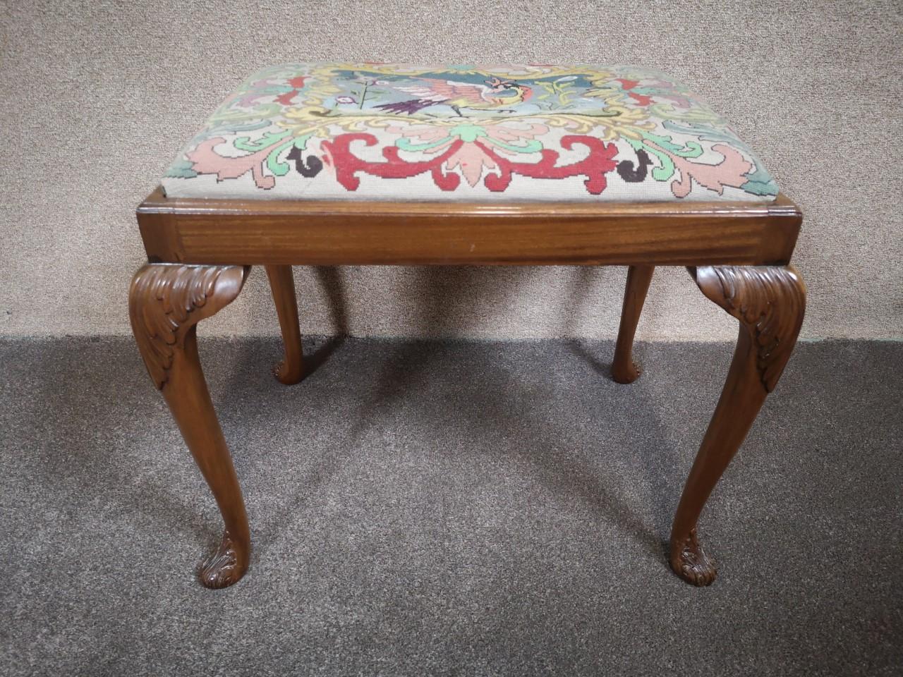 Carved walnut stool画像