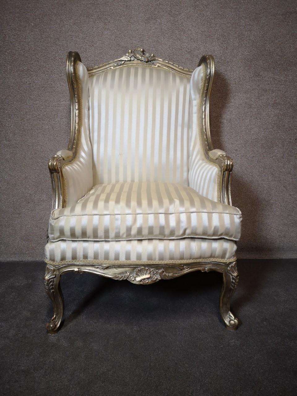Gilt wood arm chair画像