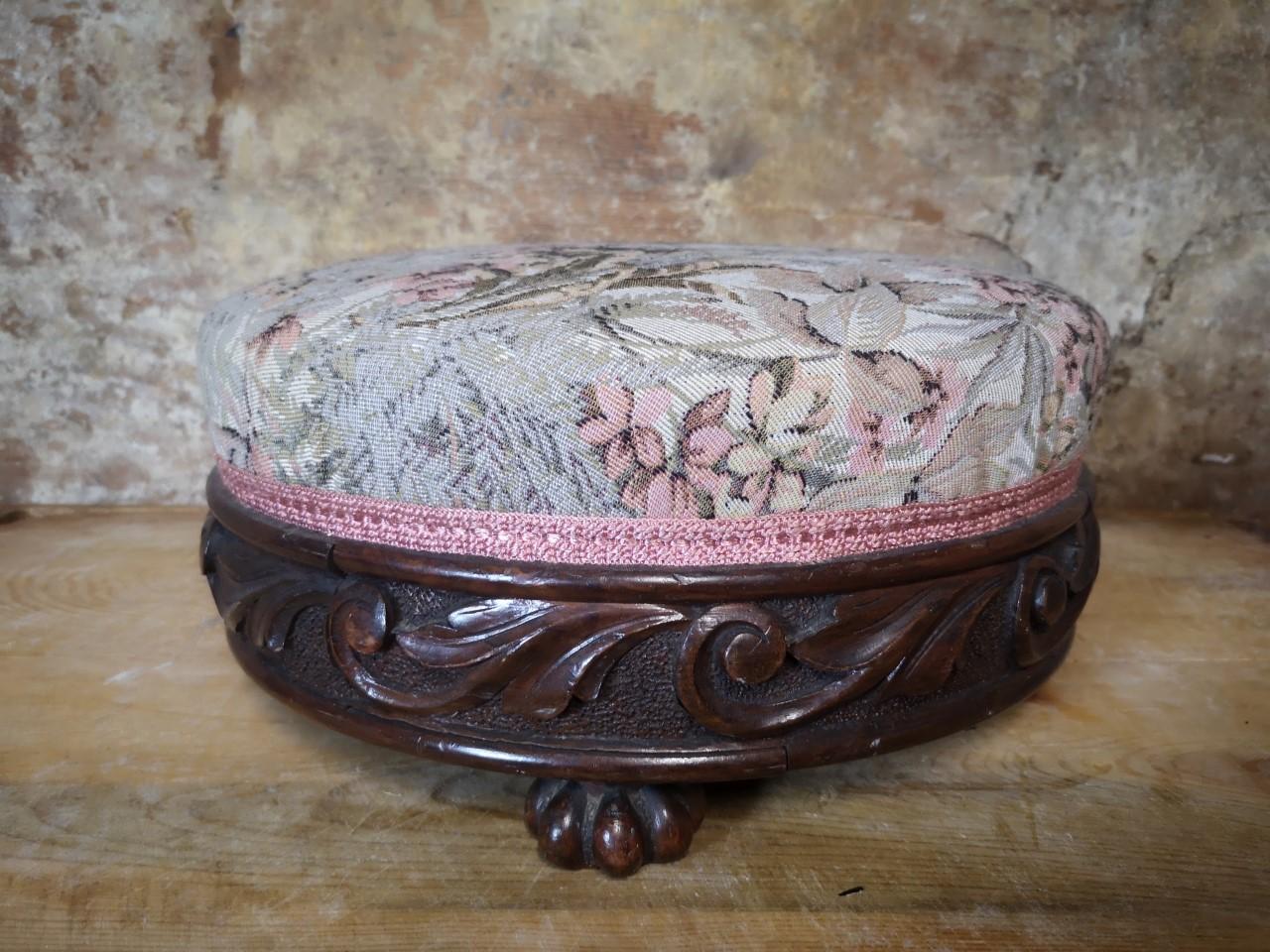 Carved mahogany stool画像