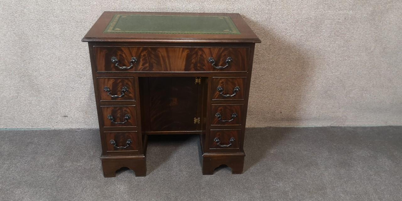 Leather top Kneehole desk画像