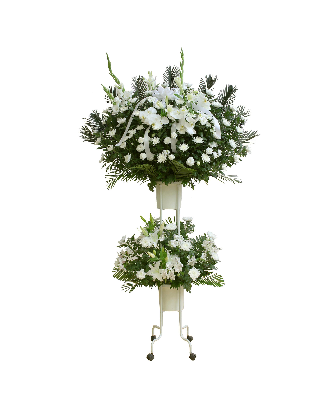 葬儀スタンド花(白)画像