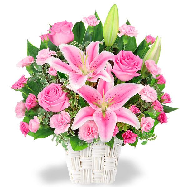 ピンクユリとピンクバラのアレンジメント 511782画像