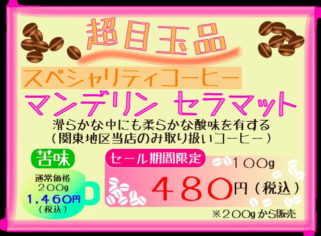 マンデリン セラマット 超目玉品100g480円