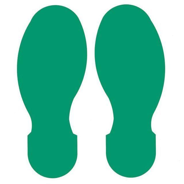足型フロアマーキングテープ 緑 30枚/セット(右15枚・左15枚/15足分) f1044074の画像