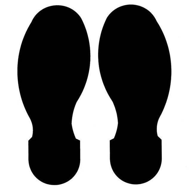足型フロアマーキングテープ 黒 30枚/セット(右15枚・左15枚/15足分) f1044105の画像