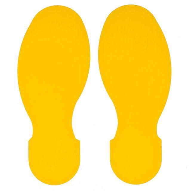 足型フロアマーキングテープ 黄 30枚/セット(右15枚・左15枚/15足分) f1044092の画像