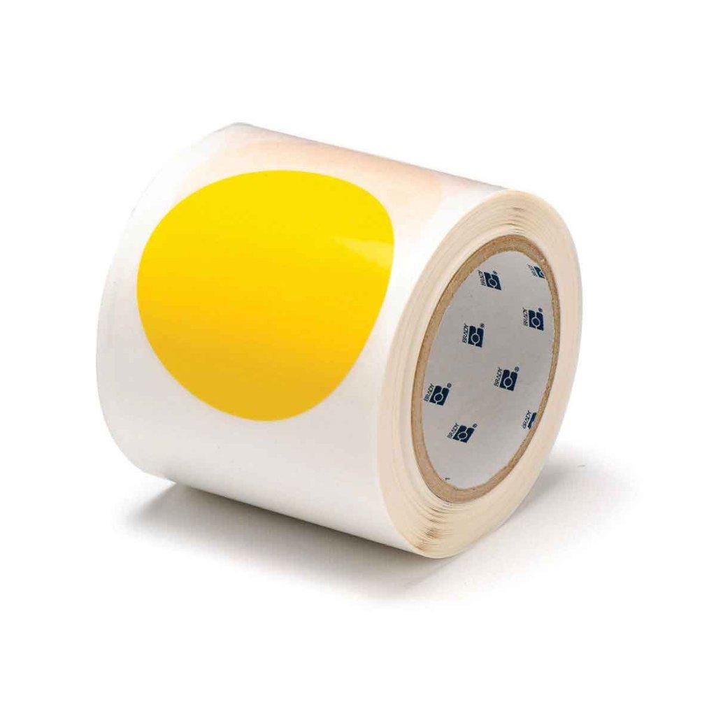 間隔付きフロアマーキングテープ 丸型 黄  104523の画像
