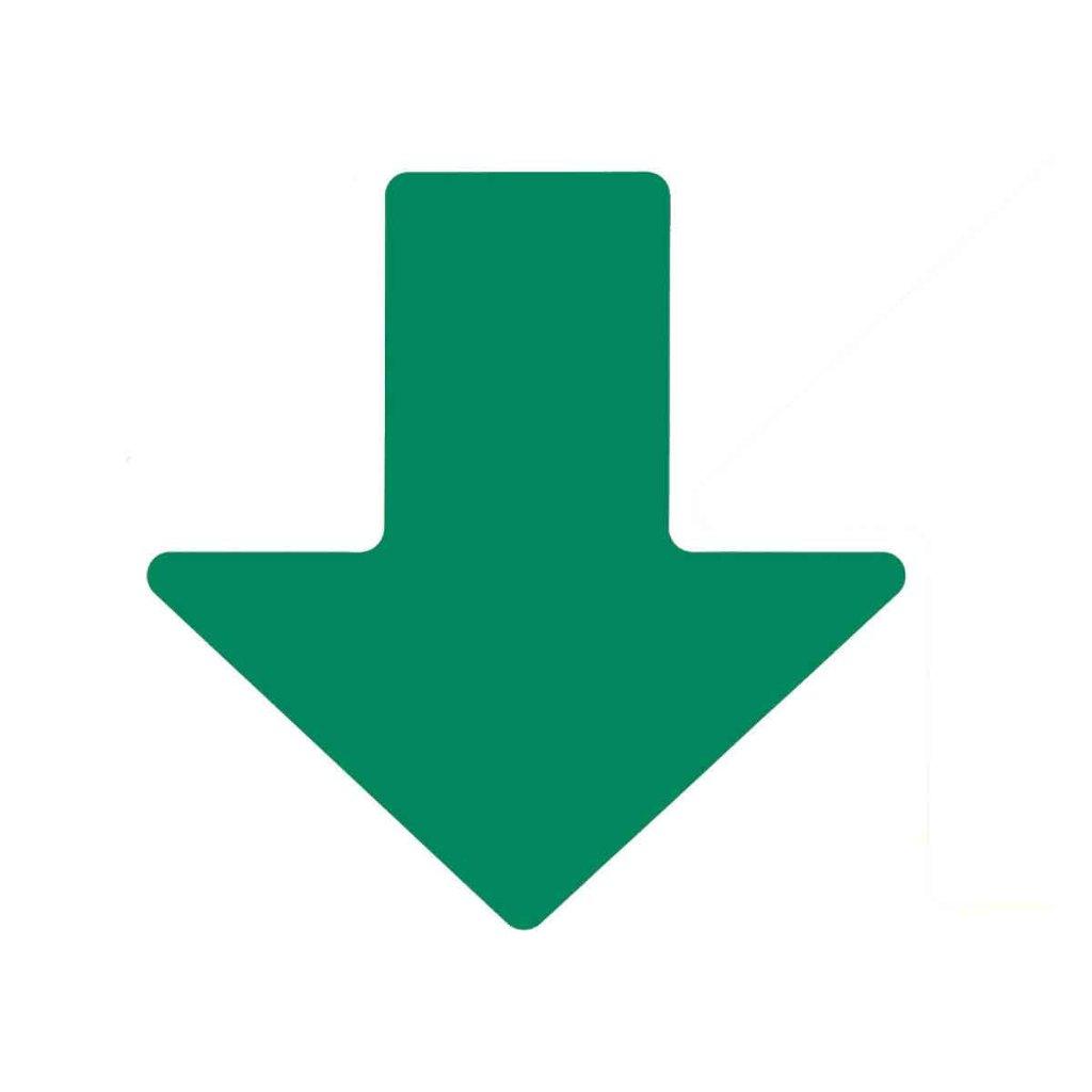 矢印フロアマーキングテープ 緑 100枚/セット 104413の画像