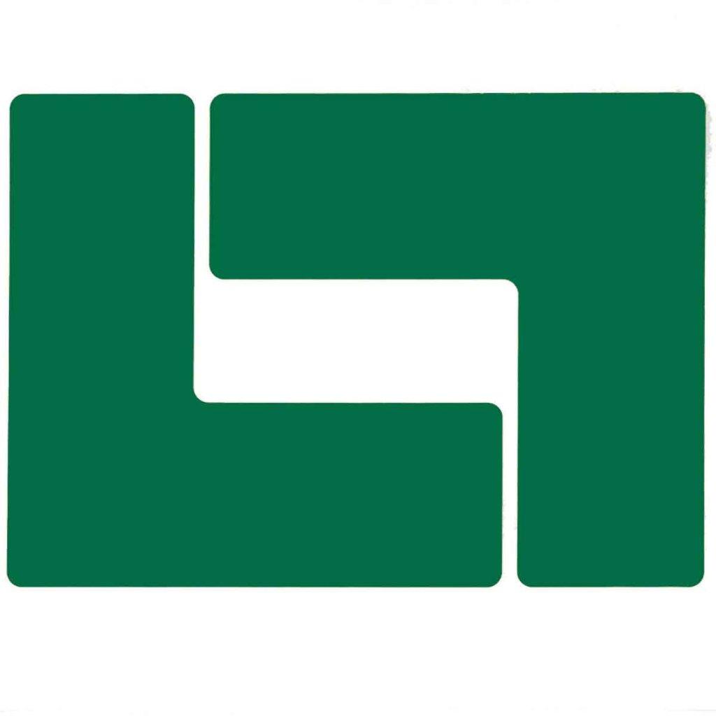 L型 フロアマーキングテープ  線幅:76.2mm 40枚/セット  緑 104443の画像