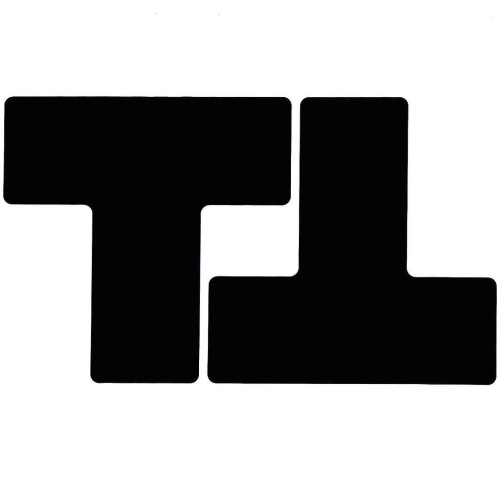T型 フロアマーキングテープ  線幅:76.2mm 40枚/セット 黒 104452の画像