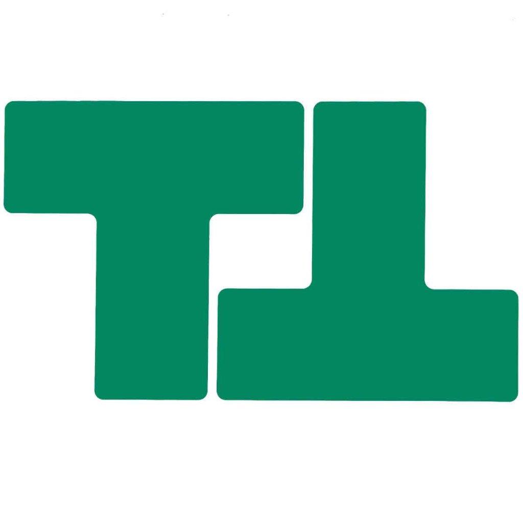 T型 フロアマーキングテープ  線幅:76.2mm 40枚/セット 緑  104449の画像