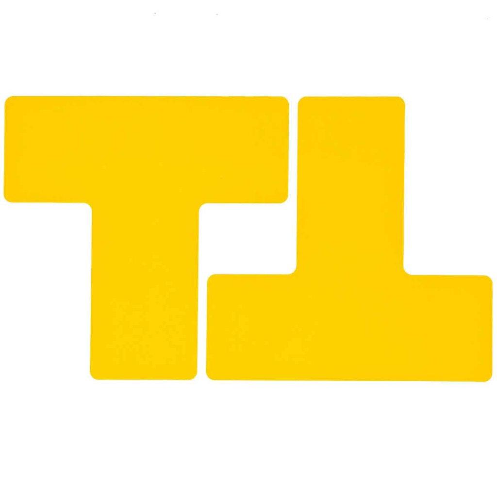 T型 フロアマーキングテープ  線幅:76.2mm 40枚/セット  黄 104451の画像