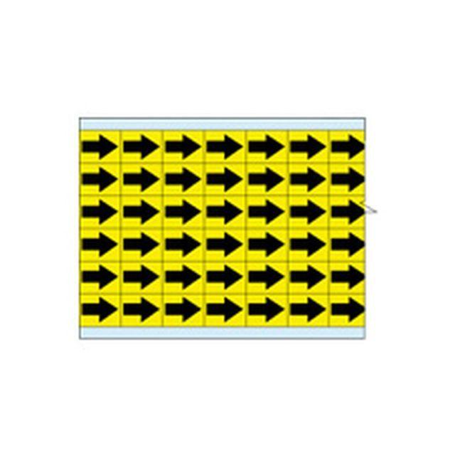 故障指示ラベル EIA-3025-YL(25CDS/BX)  黄色地に黒矢印  (f493302)の画像