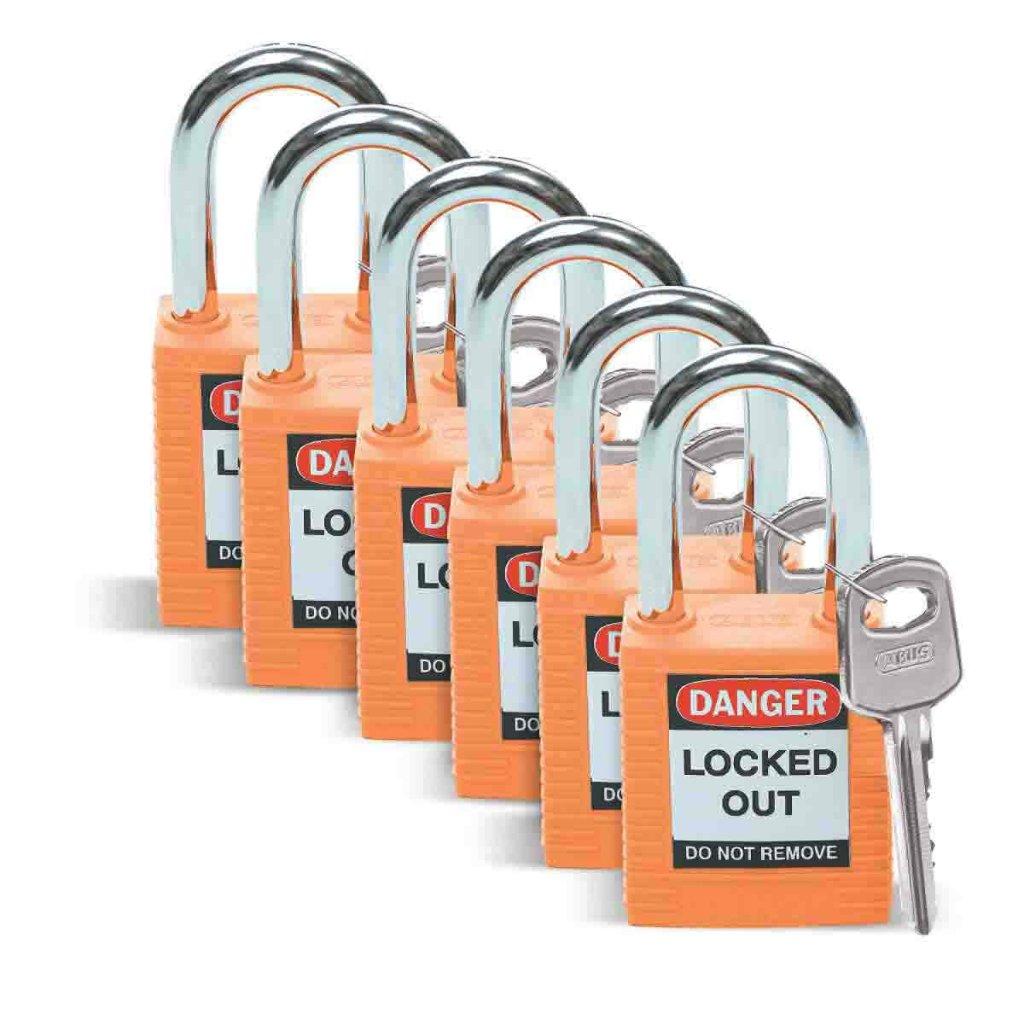 非導電性セーフティ パドロック オレンジ 6個入り (f513476)の画像