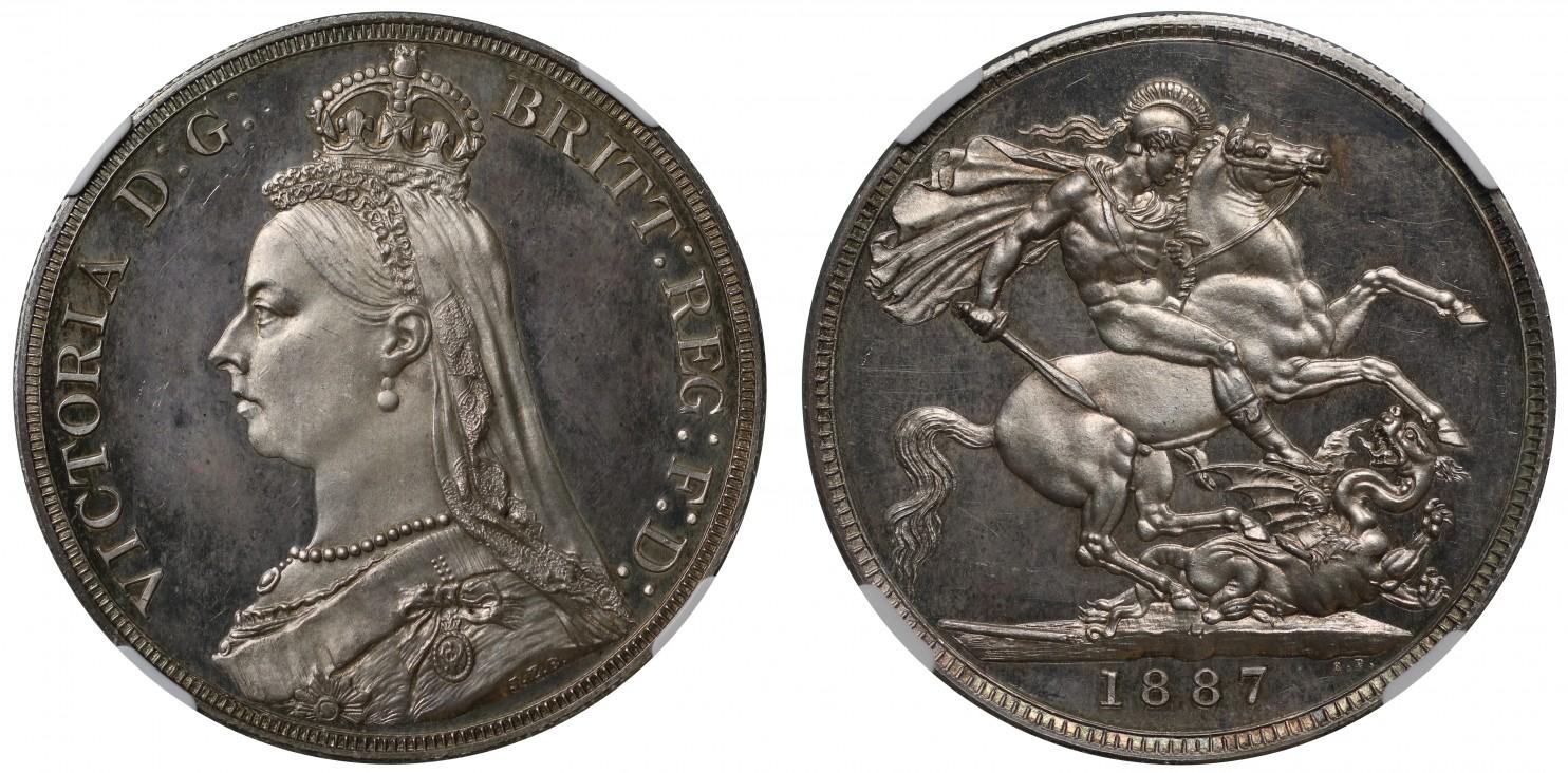イギリス1887年ヴィクトリア戴冠50年プルーフクラウン銀貨PF64CAMEO画像