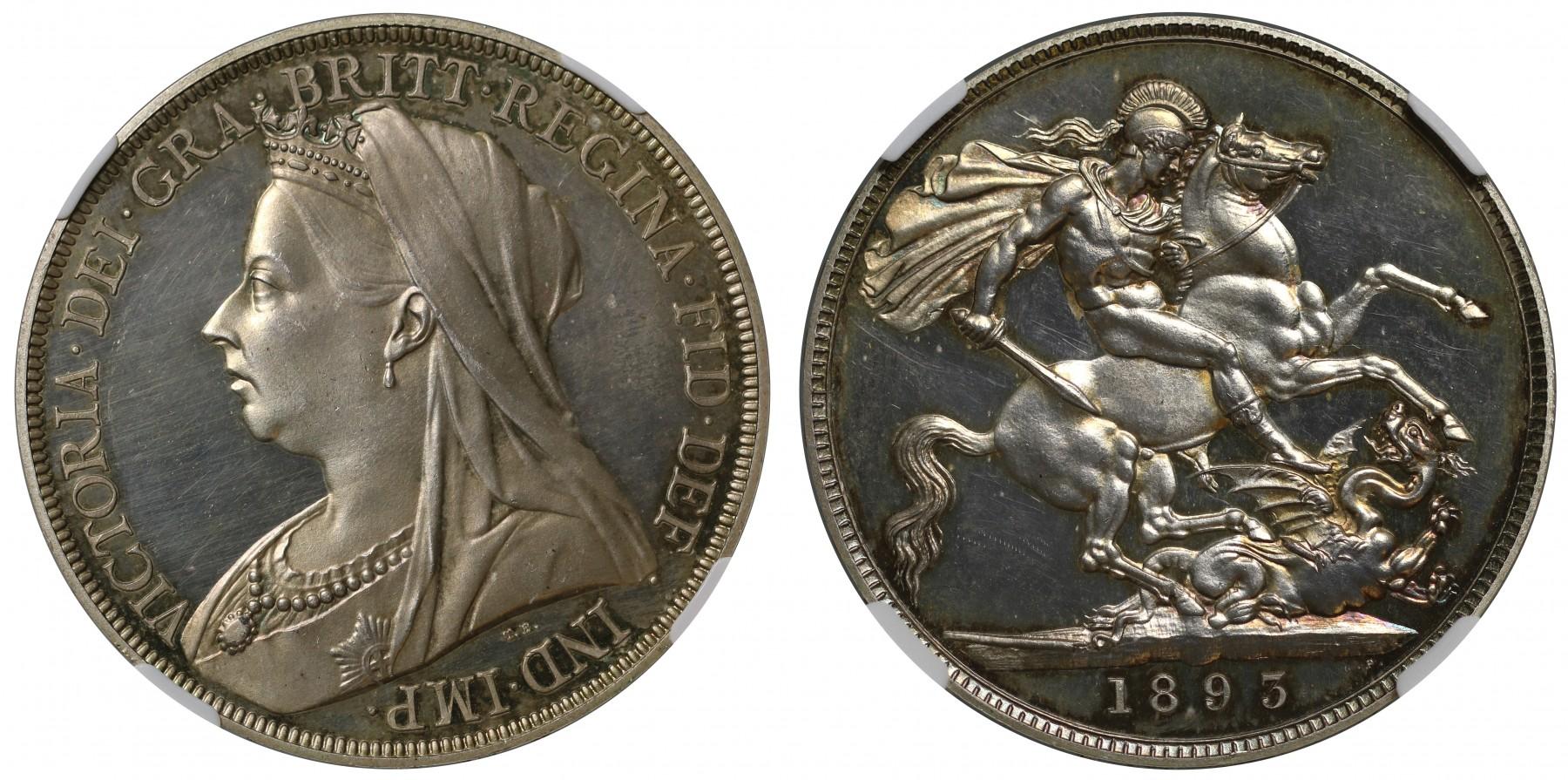 イギリス1893年ヴィクトリアLVIエッジプルーフクラウン銀貨PF63CAMEO画像