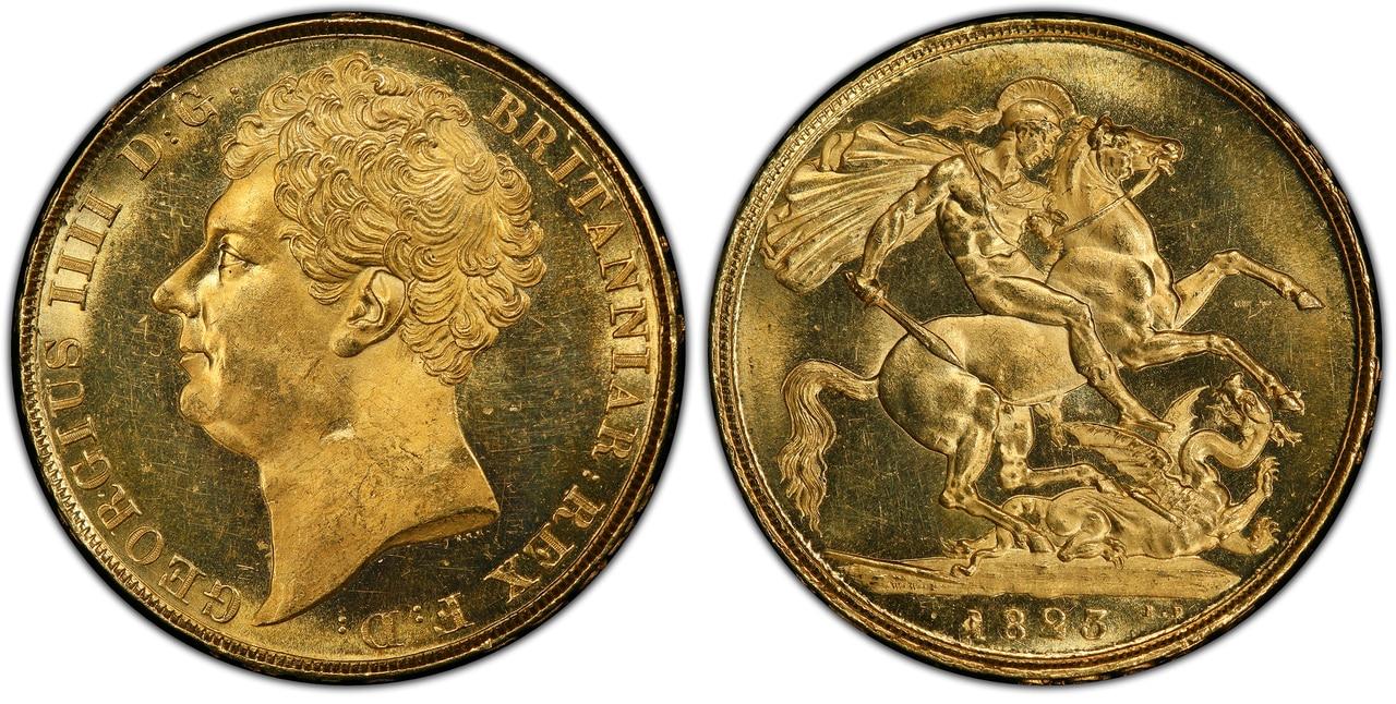 イギリス1823年ジョージ4世2ポンド金貨PCGS MS63画像