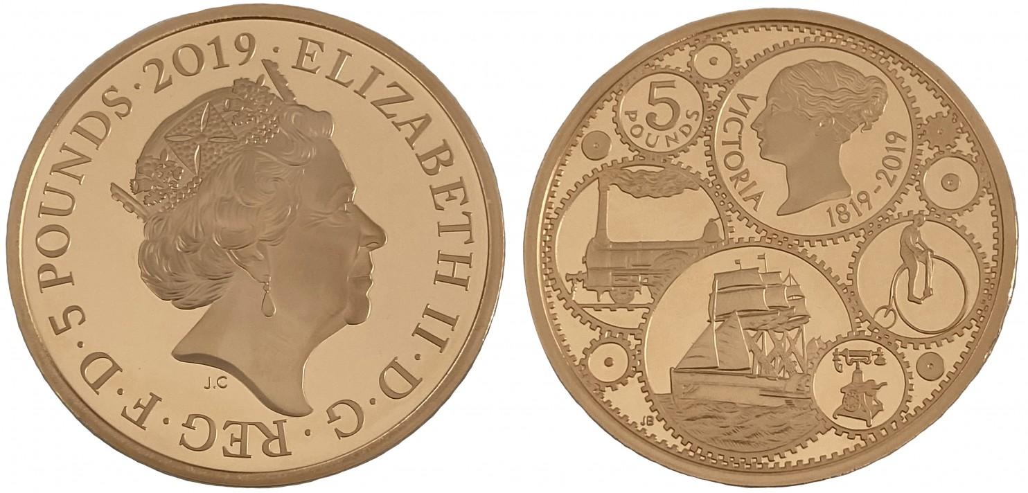 イギリス2019年ヴィクトリア生誕200年5ポンド金貨PF70 UCAM 画像
