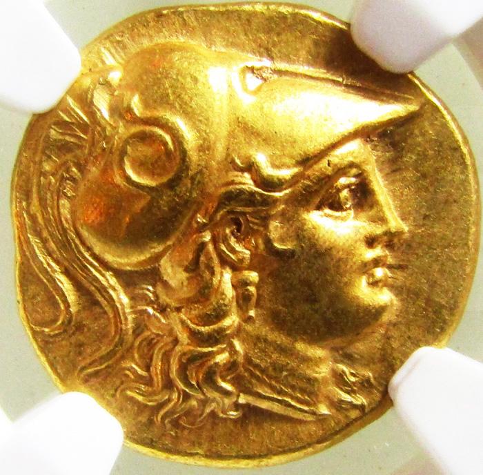 古代ギリシャ マケドニア スターテル金貨NGC MS★打刻5/5、  表面状態4/5画像
