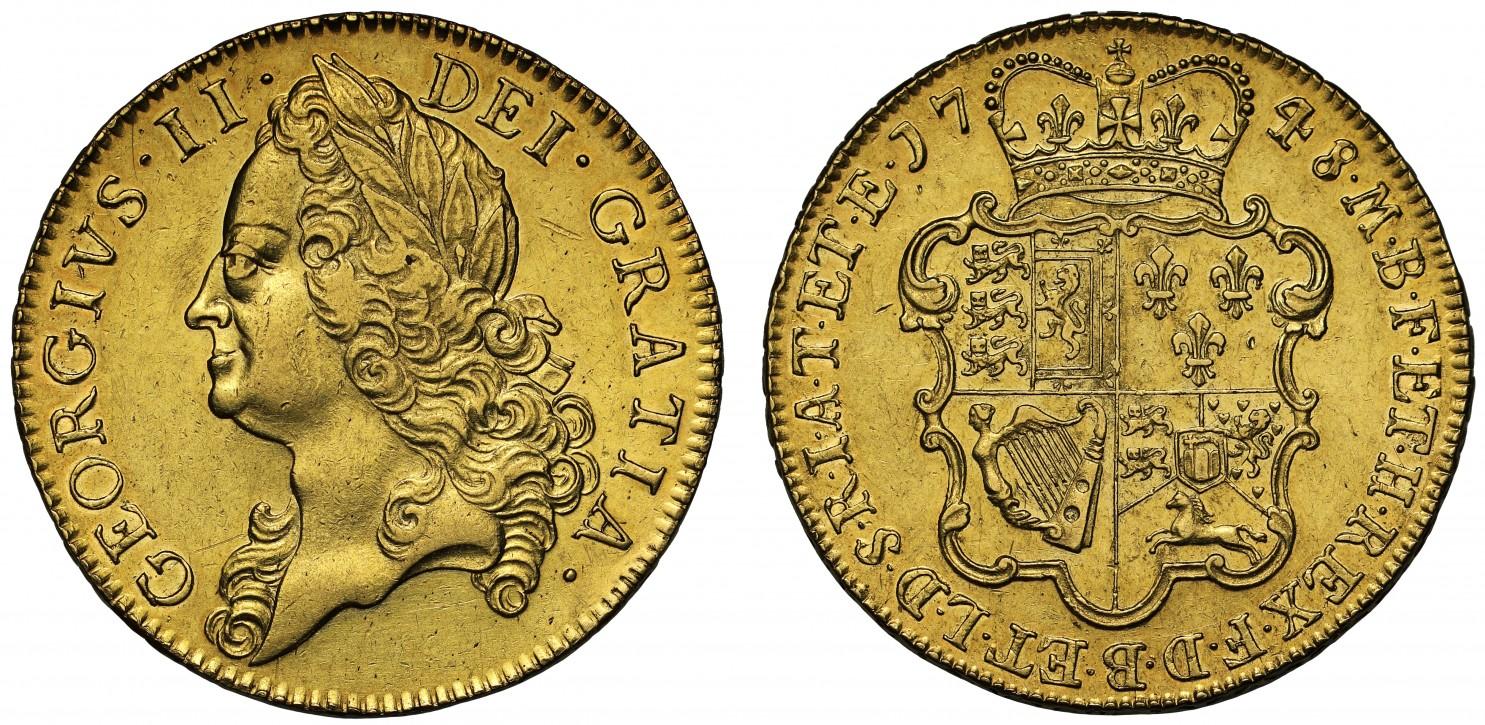 イギリス1748年ジョージ2世5ギニー金貨画像