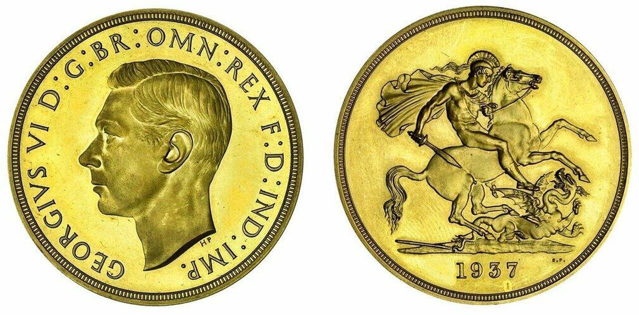 イギリス1937年ジョージ6世5ポンド金貨NGC PR65 Cameo画像