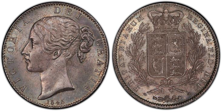 イギリス1845年ヴィクトリアクラウン銀貨PCGS MS64画像