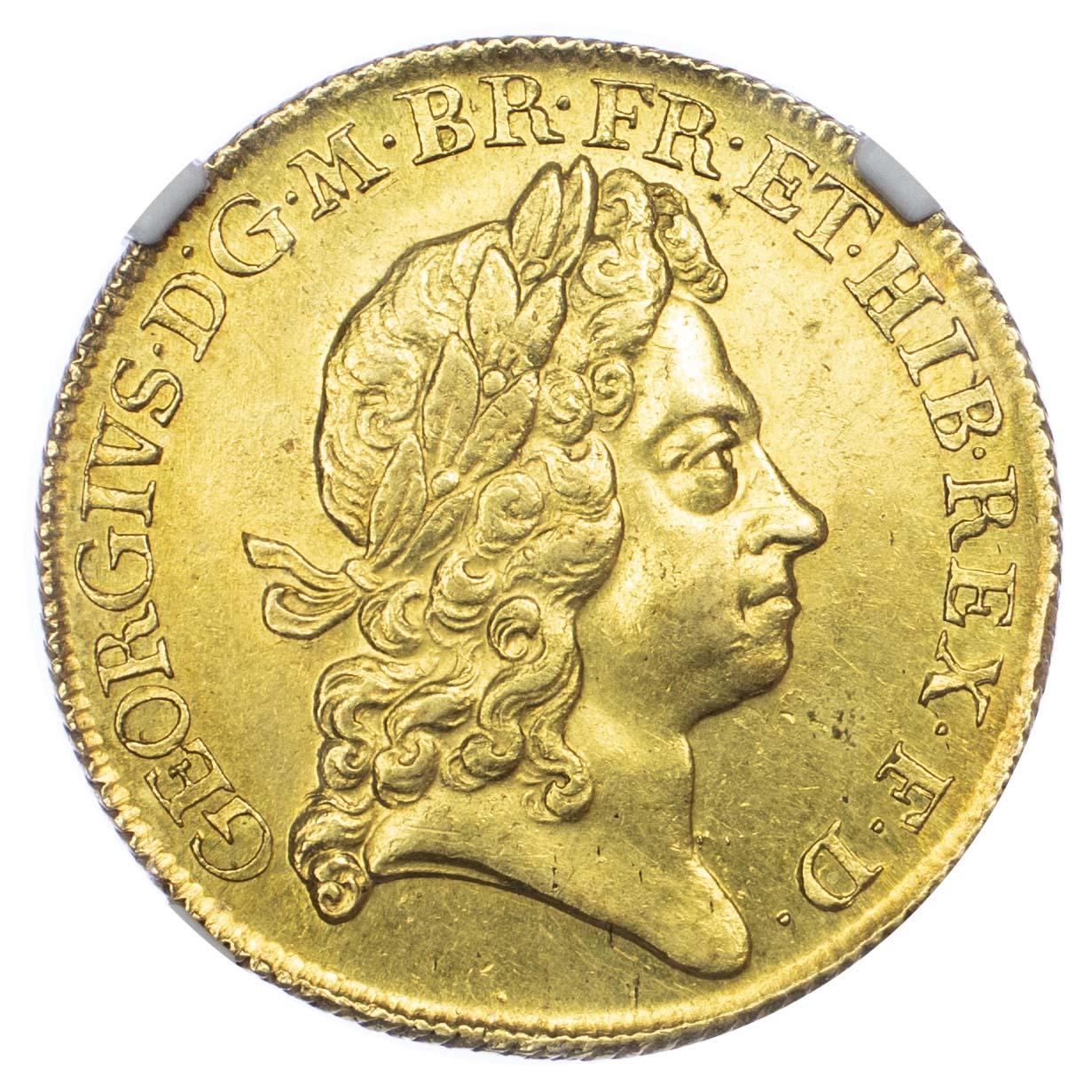 イギリス1717年ジョージ1世2ギニー金貨NGC MS63 最高鑑定画像