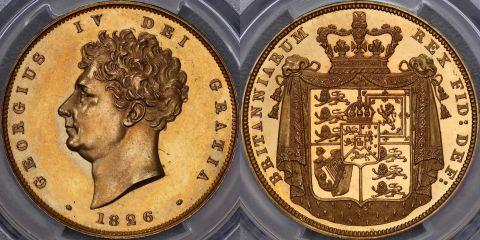イギリス1826年ジョージ4世2ポンドプルーフ 金貨PCGS PR62画像
